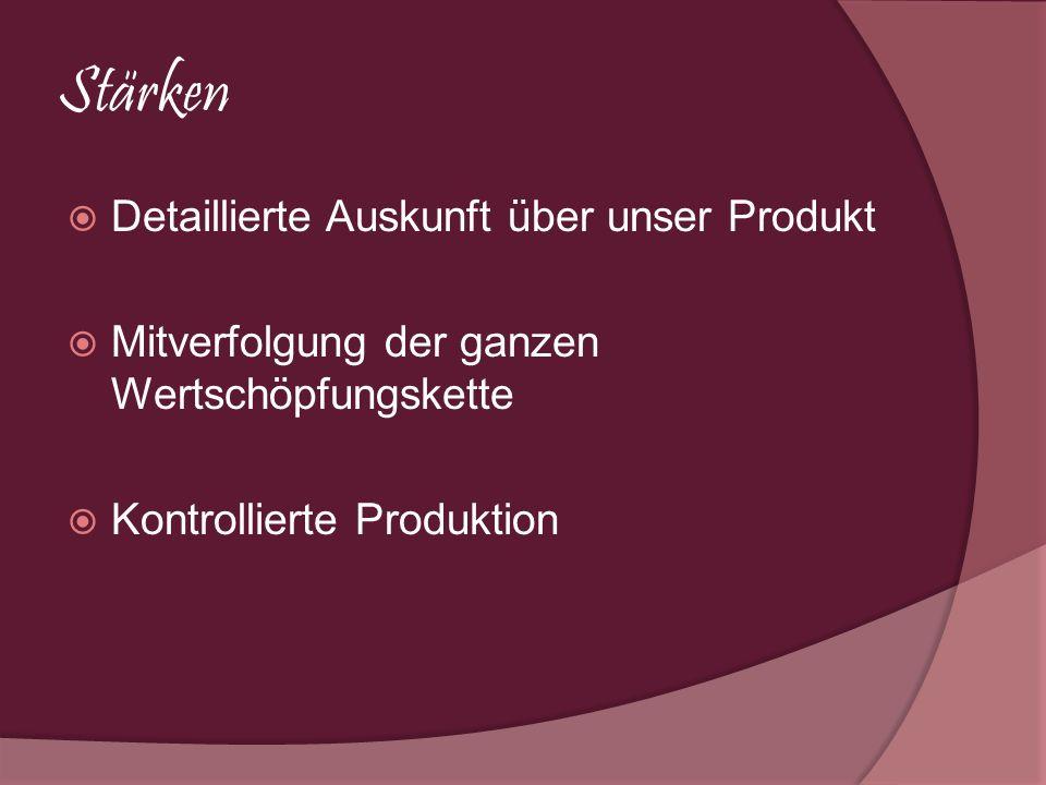 Stärken Detaillierte Auskunft über unser Produkt Mitverfolgung der ganzen Wertschöpfungskette Kontrollierte Produktion