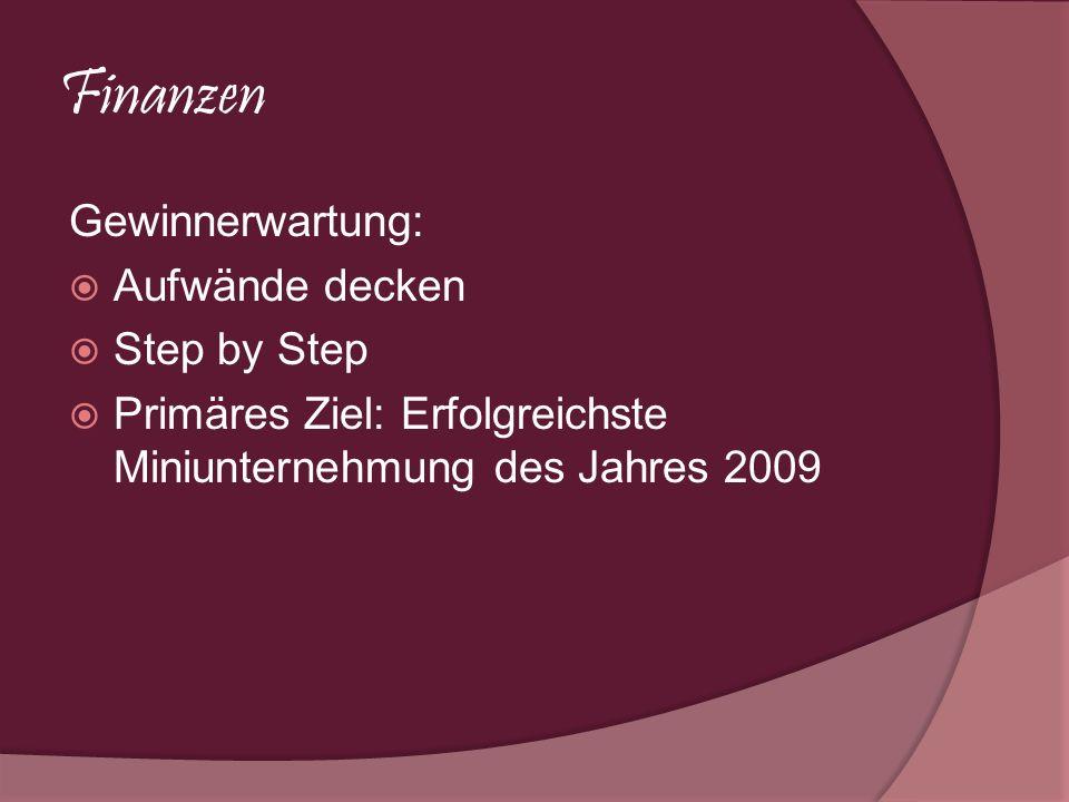 Finanzen Gewinnerwartung: Aufwände decken Step by Step Primäres Ziel: Erfolgreichste Miniunternehmung des Jahres 2009