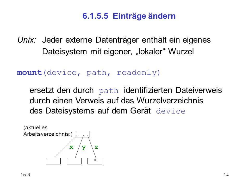 bs-614 6.1.5.5 Einträge ändern Unix: Jeder externe Datenträger enthält ein eigenes Dateisystem mit eigener, lokaler Wurzel mount(device, path, readonly) ersetzt den durch path identifizierten Dateiverweis durch einen Verweis auf das Wurzelverzeichnis des Dateisystems auf dem Gerät device x y z * (aktuelles Arbeitsverzeichnis:)