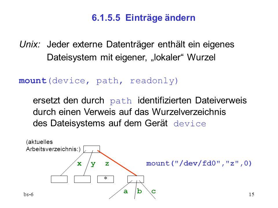 bs-615 6.1.5.5 Einträge ändern Unix: Jeder externe Datenträger enthält ein eigenes Dateisystem mit eigener, lokaler Wurzel mount(device, path, readonly) ersetzt den durch path identifizierten Dateiverweis durch einen Verweis auf das Wurzelverzeichnis des Dateisystems auf dem Gerät device x y z mount( /dev/fd0 , z ,0) a b c * (aktuelles Arbeitsverzeichnis:)