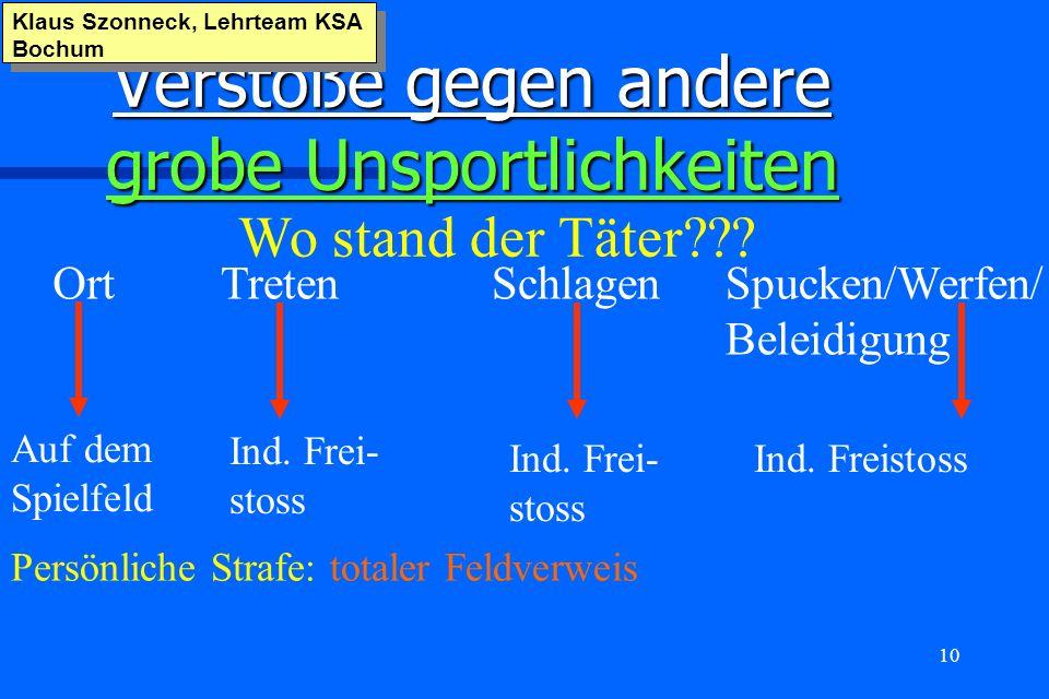 10 Verstöße gegen andere grobe Unsportlichkeiten Klaus Szonneck, Lehrteam KSA Bochum Persönliche Strafe: totaler Feldverweis Wo stand der Täter??? Ort