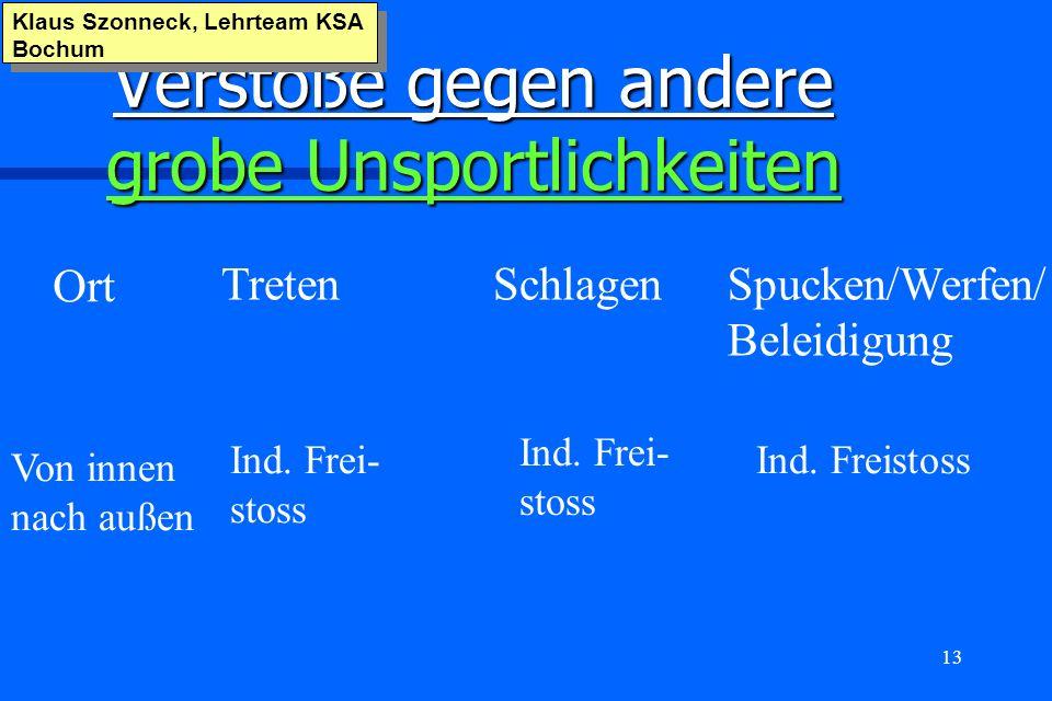 13 Verstöße gegen andere grobe Unsportlichkeiten Klaus Szonneck, Lehrteam KSA Bochum Ort TretenSchlagenSpucken/Werfen/ Beleidigung Von innen nach auße