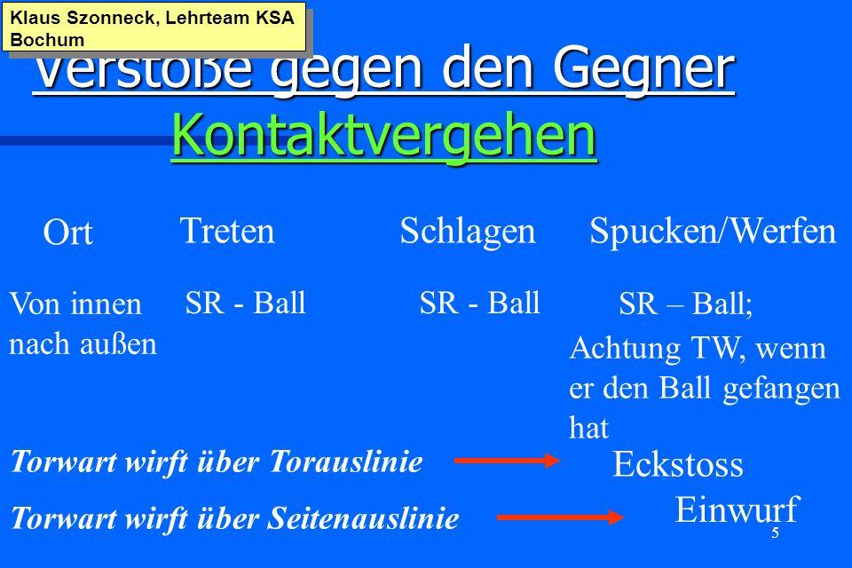 5 Verstöße gegen den Gegner Kontaktvergehen Klaus Szonneck, Lehrteam KSA Bochum Ort TretenSchlagenSpucken/Werfen Von innen nach außen SR - Ball SR – B