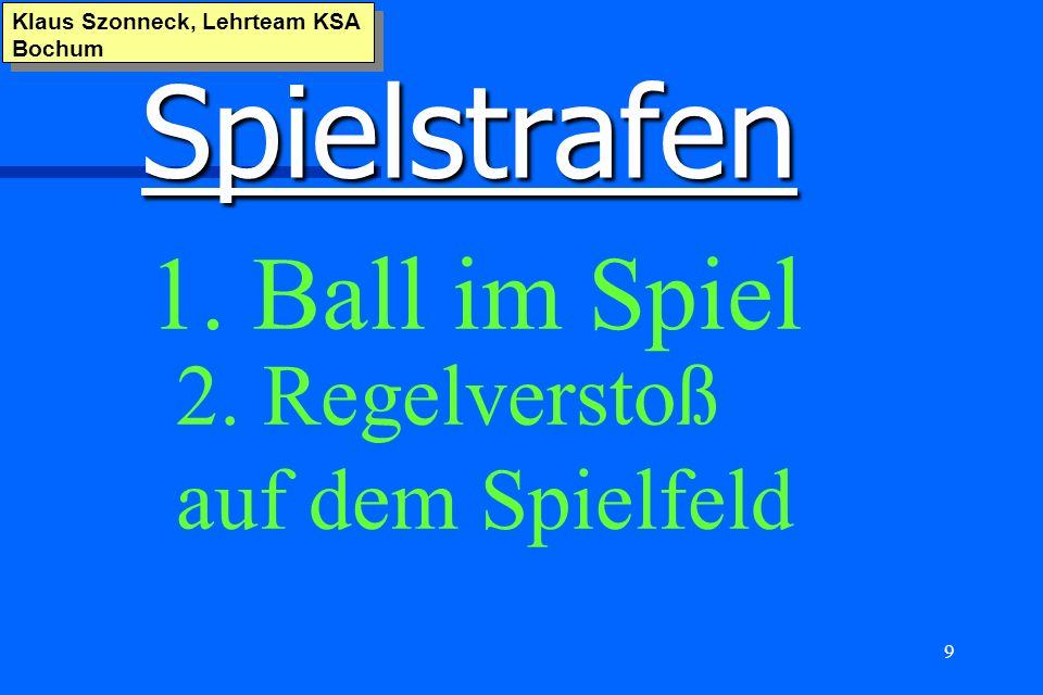9 Spielstrafen Klaus Szonneck, Lehrteam KSA Bochum 1. Ball im Spiel 2. Regelverstoß auf dem Spielfeld
