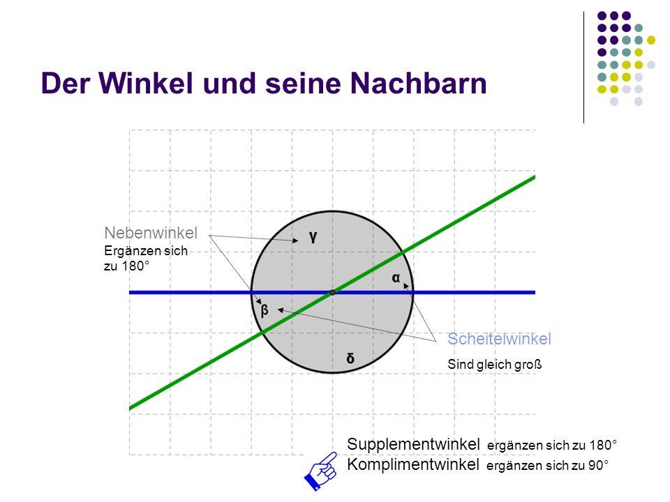 Der Winkel und seine Nachbarn Scheitelwinkel Sind gleich groß Nebenwinkel Ergänzen sich zu 180° Supplementwinkel ergänzen sich zu 180° Komplimentwinke