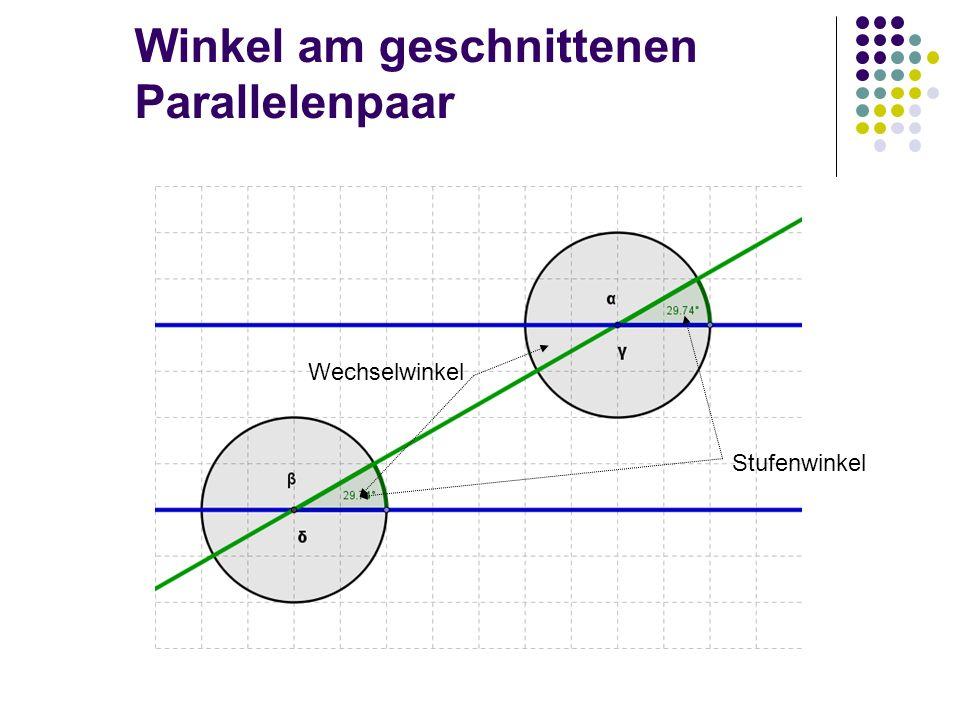 Winkel am geschnittenen Parallelenpaar Stufenwinkel Wechselwinkel
