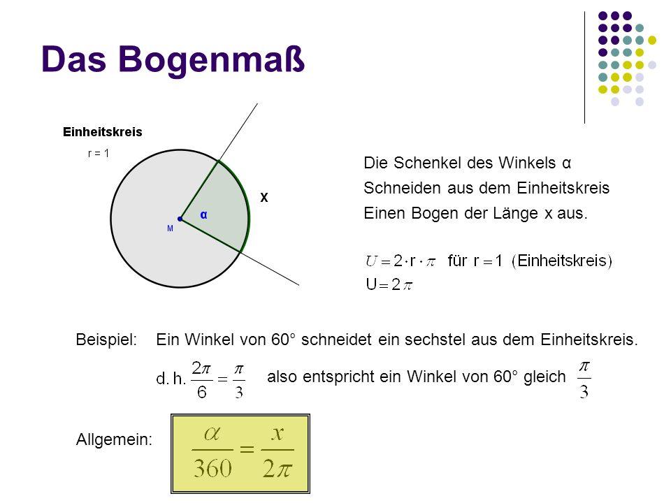 Das Bogenmaß Die Schenkel des Winkels α Schneiden aus dem Einheitskreis Einen Bogen der Länge x aus. Beispiel:Ein Winkel von 60° schneidet ein sechste