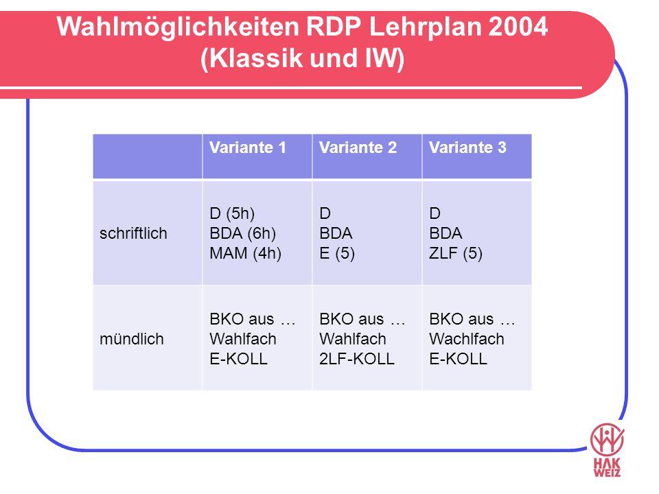 Wahlmöglichkeiten RDP Lehrplan 2004 (Klassik und IW) Variante 1Variante 2Variante 3 schriftlich D (5h) BDA (6h) MAM (4h) D BDA E (5) D BDA ZLF (5) mündlich BKO aus … Wahlfach E-KOLL BKO aus … Wahlfach 2LF-KOLL BKO aus … Wachlfach E-KOLL