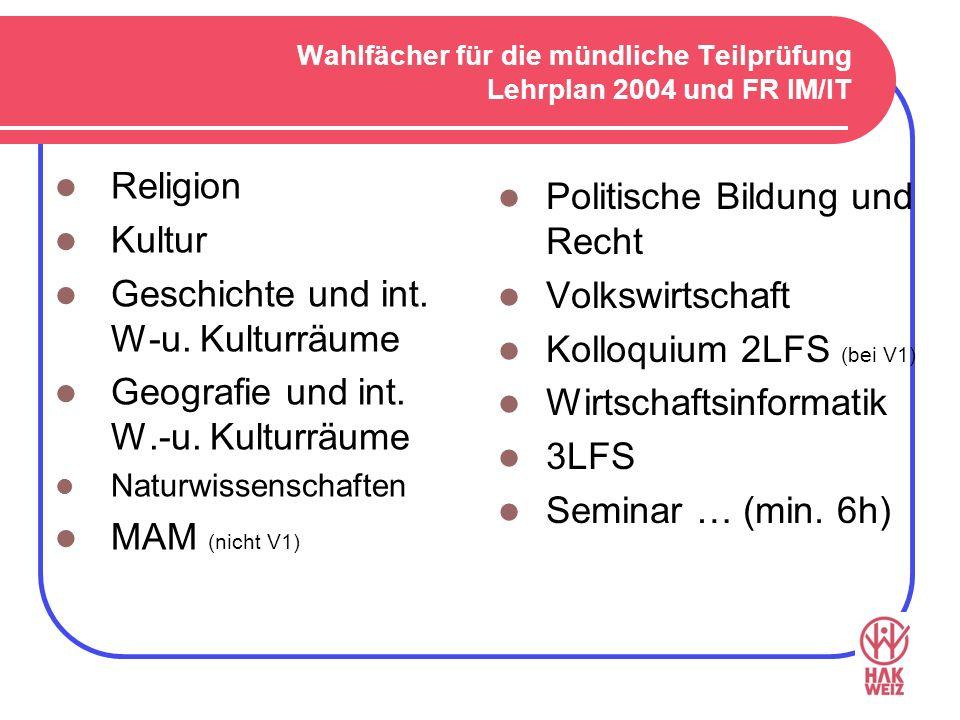 Wahlfächer für die mündliche Teilprüfung Lehrplan 2004 und FR IM/IT Religion Kultur Geschichte und int. W-u. Kulturräume Geografie und int. W.-u. Kult