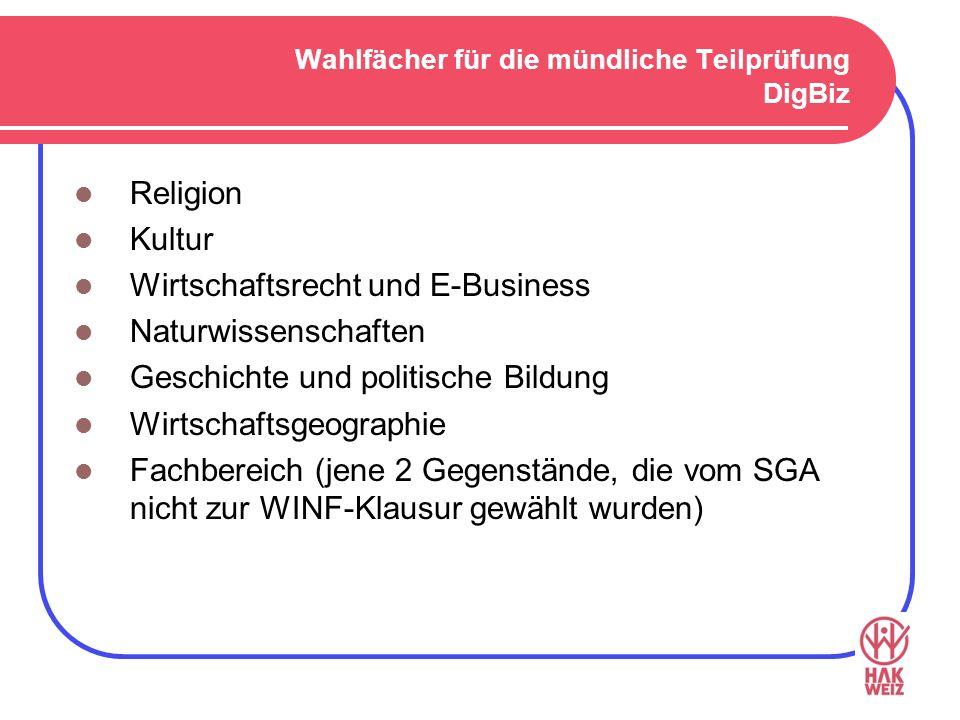 Wahlfächer für die mündliche Teilprüfung DigBiz Religion Kultur Wirtschaftsrecht und E-Business Naturwissenschaften Geschichte und politische Bildung Wirtschaftsgeographie Fachbereich (jene 2 Gegenstände, die vom SGA nicht zur WINF-Klausur gewählt wurden)