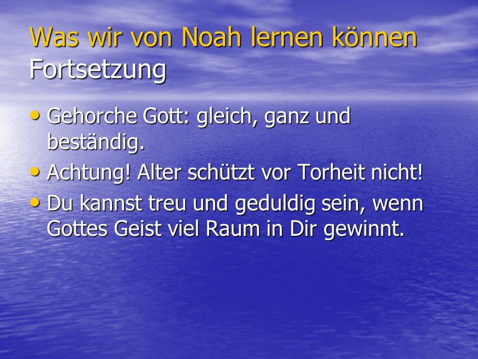 Was wir von Noah lernen können Fortsetzung Gehorche Gott: gleich, ganz und beständig. Gehorche Gott: gleich, ganz und beständig. Achtung! Alter schütz