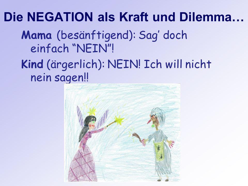 Die NEGATION als Kraft und Dilemma… Mama (besänftigend): Sag doch einfach NEIN! Kind (ärgerlich): NEIN! Ich will nicht nein sagen!!