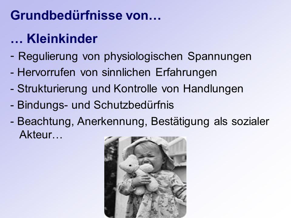 Grundbedürfnisse von… … Kleinkinder - Regulierung von physiologischen Spannungen - Hervorrufen von sinnlichen Erfahrungen - Strukturierung und Kontrol
