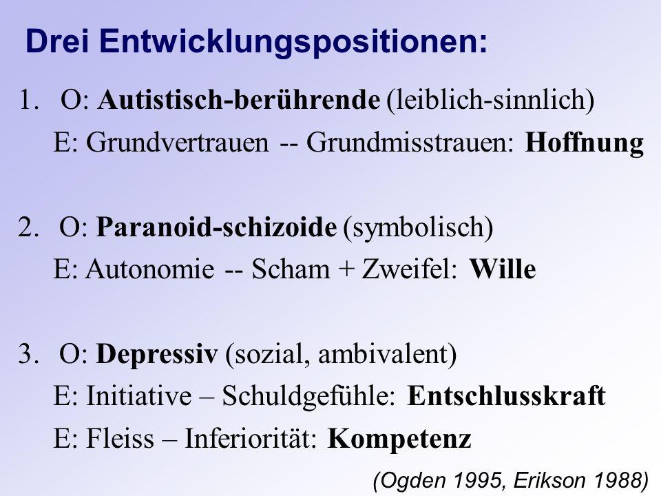 Drei Entwicklungspositionen: (Ogden 1995, Erikson 1988) 1. O: Autistisch-berührende (leiblich-sinnlich) E: Grundvertrauen -- Grundmisstrauen: Hoffnung