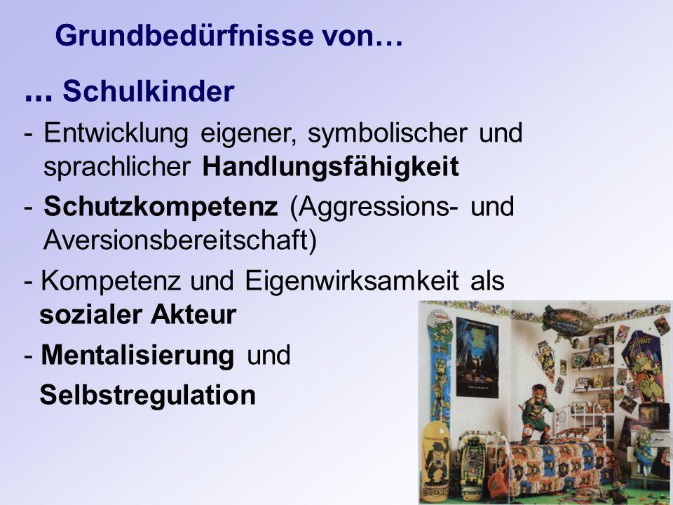 Grundbedürfnisse von… … Schulkinder -Entwicklung eigener, symbolischer und sprachlicher Handlungsfähigkeit -Schutzkompetenz (Aggressions- und Aversion