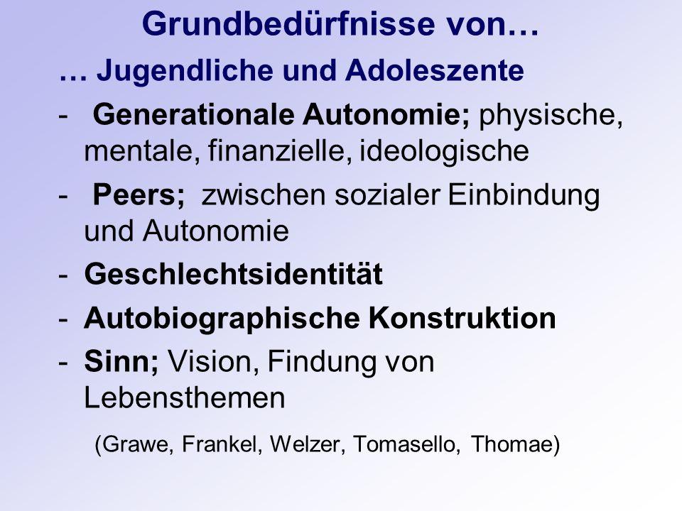 Grundbedürfnisse von… … Jugendliche und Adoleszente - Generationale Autonomie; physische, mentale, finanzielle, ideologische - Peers; zwischen soziale