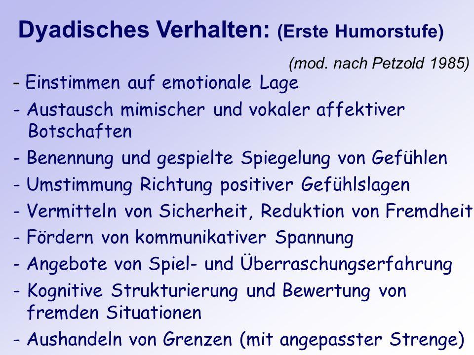 Dyadisches Verhalten: (Erste Humorstufe) - Einstimmen auf emotionale Lage - Austausch mimischer und vokaler affektiver Botschaften - Benennung und ges