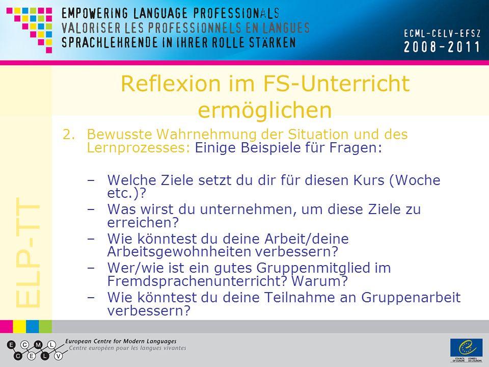 ELP-TT Reflexion im FS-Unterricht ermöglichen 3.