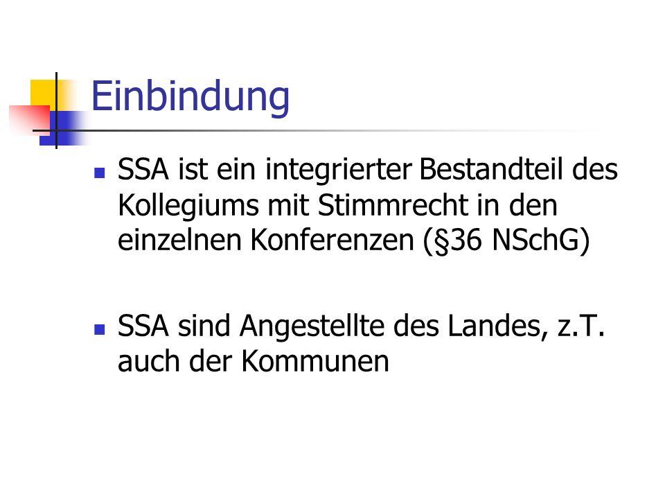 Einbindung SSA ist ein integrierter Bestandteil des Kollegiums mit Stimmrecht in den einzelnen Konferenzen (§36 NSchG) SSA sind Angestellte des Landes