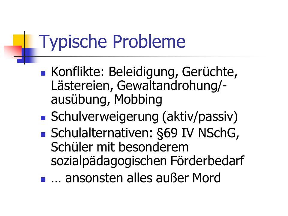 Typische Probleme Konflikte: Beleidigung, Gerüchte, Lästereien, Gewaltandrohung/- ausübung, Mobbing Schulverweigerung (aktiv/passiv) Schulalternativen