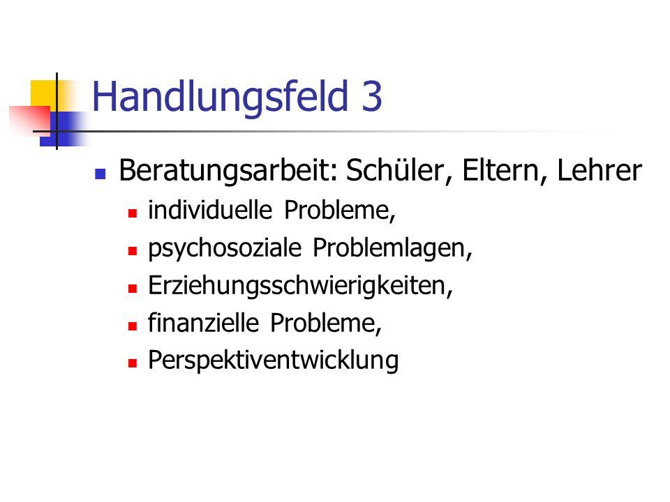 Handlungsfeld 3 Beratungsarbeit: Schüler, Eltern, Lehrer individuelle Probleme, psychosoziale Problemlagen, Erziehungsschwierigkeiten, finanzielle Probleme, Perspektiventwicklung