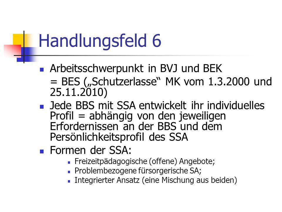 Handlungsfeld 6 Arbeitsschwerpunkt in BVJ und BEK = BES (Schutzerlasse MK vom 1.3.2000 und 25.11.2010) Jede BBS mit SSA entwickelt ihr individuelles Profil = abhängig von den jeweiligen Erfordernissen an der BBS und dem Persönlichkeitsprofil des SSA Formen der SSA: Freizeitpädagogische (offene) Angebote; Problembezogene fürsorgerische SA; Integrierter Ansatz (eine Mischung aus beiden)