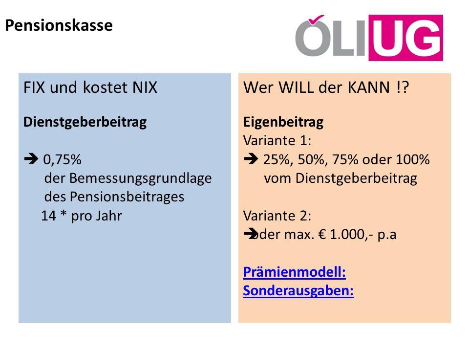 Pensionskasse Wer WILL der KANN !? Eigenbeitrag Variante 1: 25%, 50%, 75% oder 100% vom Dienstgeberbeitrag Variante 2: oder max. 1.000,- p.a Prämienmo
