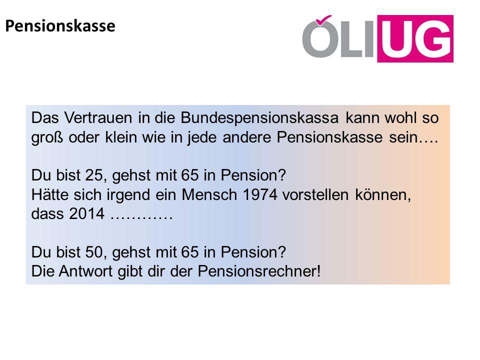 Pensionskasse Das Vertrauen in die Bundespensionskassa kann wohl so groß oder klein wie in jede andere Pensionskasse sein…. Du bist 25, gehst mit 65 i