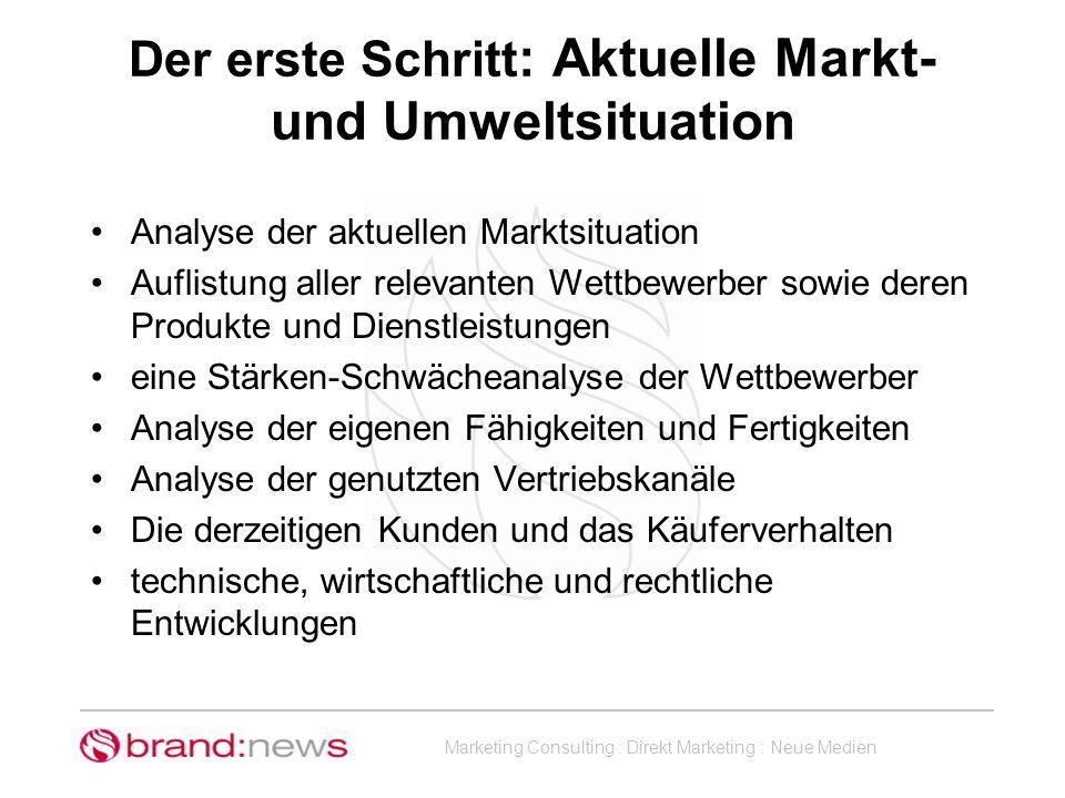 Marketing Consulting : Direkt Marketing : Neue Medien Der erste Schritt : Aktuelle Markt- und Umweltsituation Analyse der aktuellen Marktsituation Auf