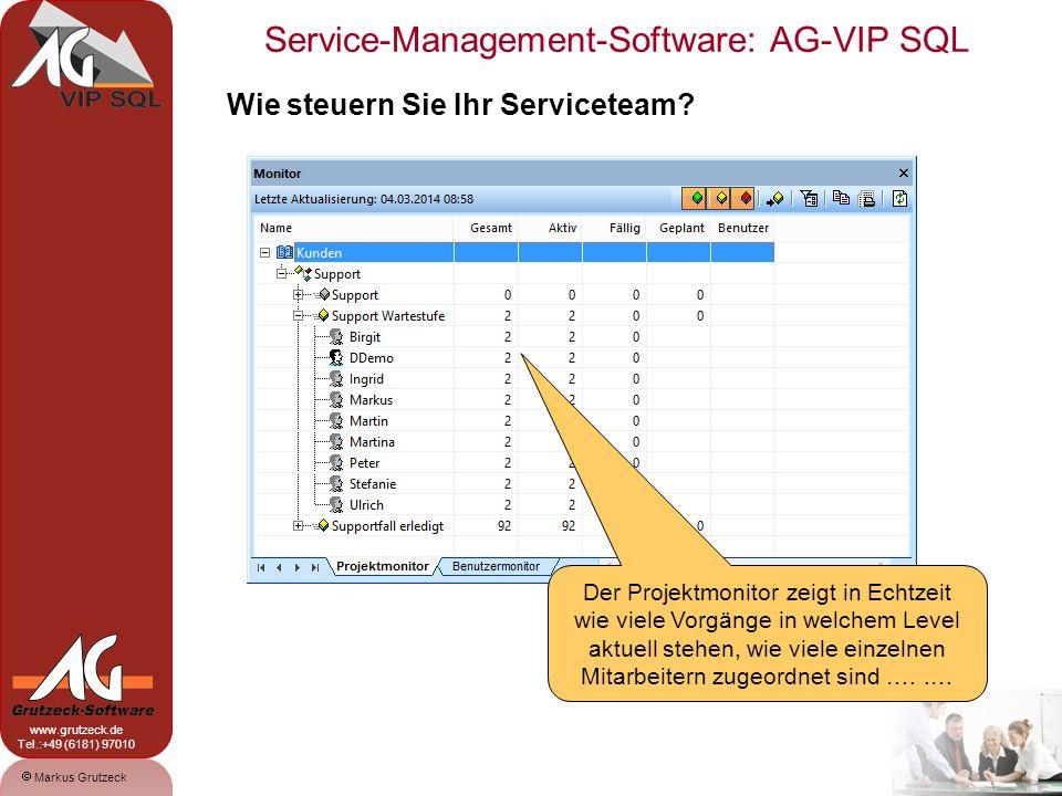 Service-Management-Software: AG-VIP SQL 11 Markus Grutzeck www.grutzeck.de Tel.:+49 (6181) 97010 Wie steuern Sie Ihr Serviceteam? Der Projektmonitor z