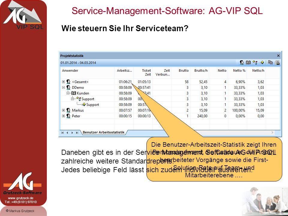 Service-Management-Software: AG-VIP SQL 13 Markus Grutzeck www.grutzeck.de Tel.:+49 (6181) 97010 Die Einrichtung ist denkbar einfach … Über NEU-Schalter Feld anlegen, Namen definieren und Typ auswählen … Zuerst legen Sie die gewünschten Felder an, auf Ebene der Kontakte oder des Vorgangs.