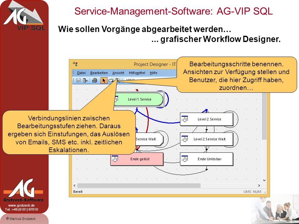 Service-Management-Software: AG-VIP SQL 15 Markus Grutzeck www.grutzeck.de Tel.:+49 (6181) 97010 Wie sollen Vorgänge abgearbeitet werden…... grafische