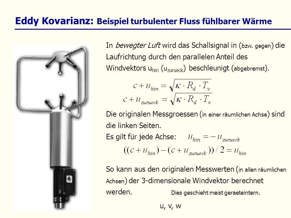 Eddy Kovarianz: Beispiel turbulenter Fluss fühlbarer Wärme In bewegter Luft wird das Schallsignal in ( bzw. gegen ) die Laufrichtung durch den paralle