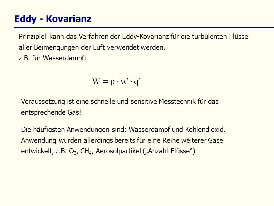 Prinzipiell kann das Verfahren der Eddy-Kovarianz für die turbulenten Flüsse aller Beimengungen der Luft verwendet werden. z.B. für Wasserdampf: Die h