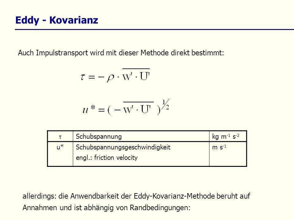 allerdings: die Anwendbarkeit der Eddy-Kovarianz-Methode beruht auf Annahmen und ist abhängig von Randbedingungen: Auch Impulstransport wird mit diese