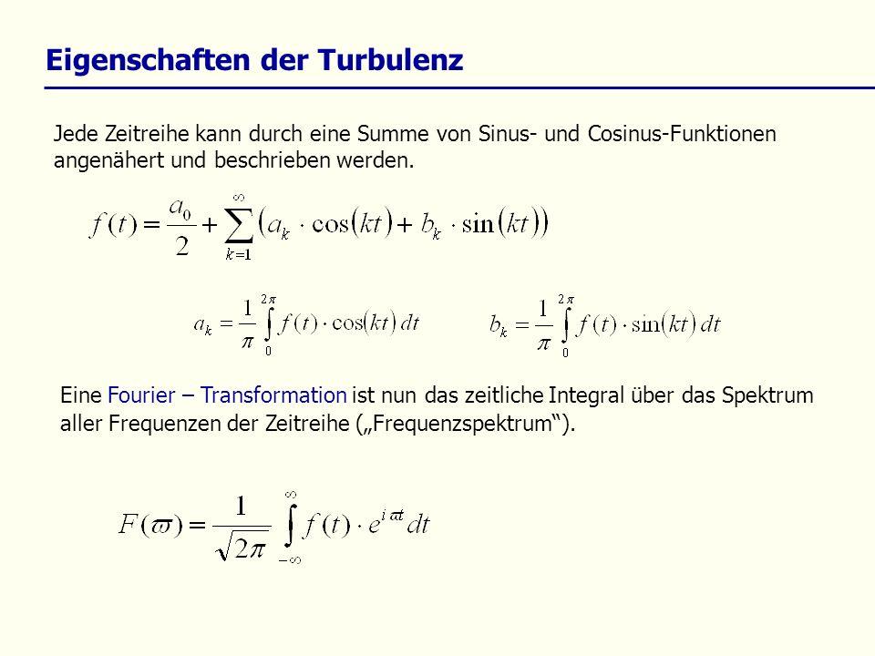 Eigenschaften der Turbulenz Jede Zeitreihe kann durch eine Summe von Sinus- und Cosinus-Funktionen angenähert und beschrieben werden. Eine Fourier – T