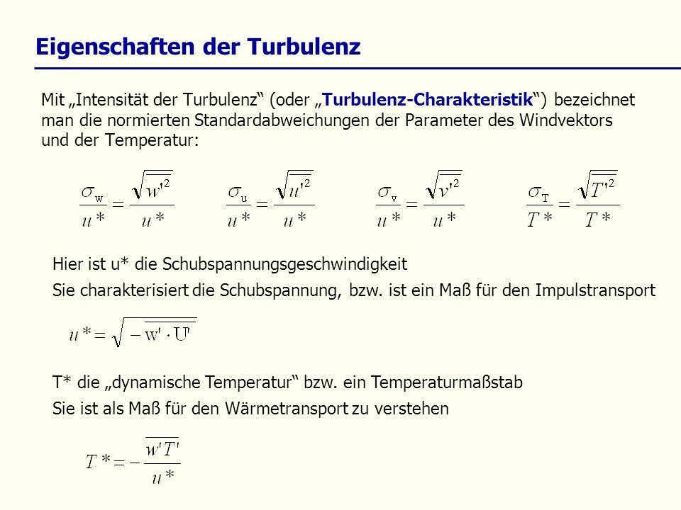 Mit Intensität der Turbulenz (oder Turbulenz-Charakteristik) bezeichnet man die normierten Standardabweichungen der Parameter des Windvektors und der
