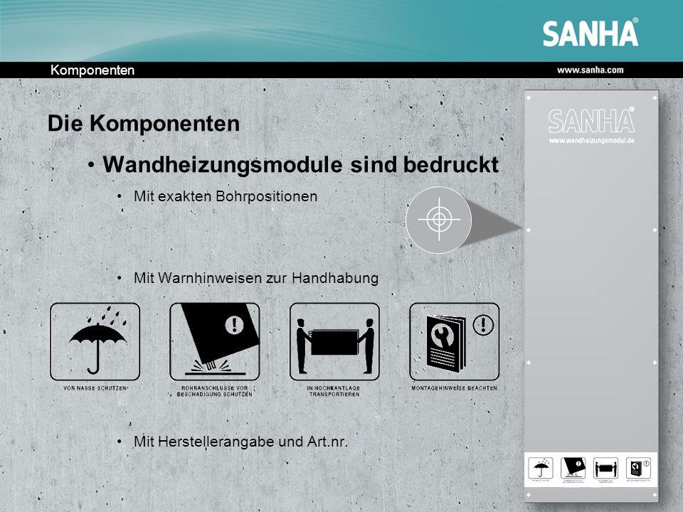 Komponenten Die Komponenten Wandheizungsmodule sind bedruckt Mit exakten Bohrpositionen Mit Warnhinweisen zur Handhabung Mit Herstellerangabe und Art.