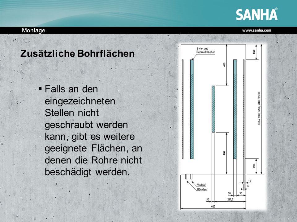 Montage Zusätzliche Bohrflächen Falls an den eingezeichneten Stellen nicht geschraubt werden kann, gibt es weitere geeignete Flächen, an denen die Roh