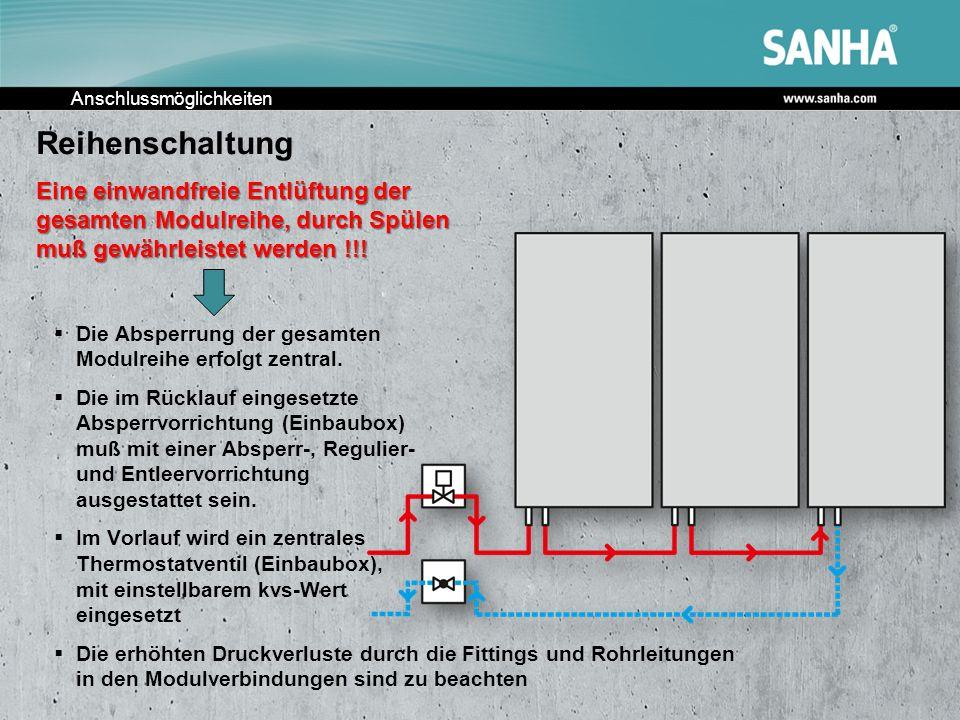 Anschlussmöglichkeiten Reihenschaltung Eine einwandfreie Entlüftung der gesamten Modulreihe, durch Spülen muß gewährleistet werden !!! Die Absperrung