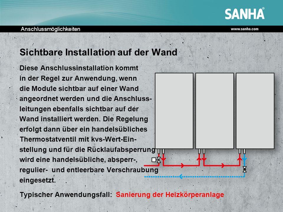 Anschlussmöglichkeiten Sichtbare Installation auf der Wand Diese Anschlussinstallation kommt in der Regel zur Anwendung, wenn die Module sichtbar auf