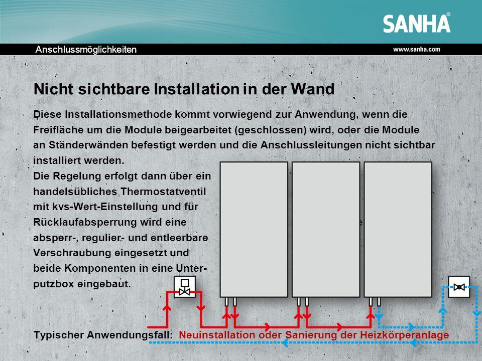 Anschlussmöglichkeiten Nicht sichtbare Installation in der Wand Diese Installationsmethode kommt vorwiegend zur Anwendung, wenn die Freifläche um die