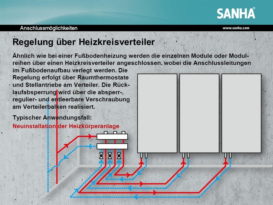 Anschlussmöglichkeiten Regelung über Heizkreisverteiler Ähnlich wie bei einer Fußbodenheizung werden die einzelnen Module oder Modul- reihen über eine