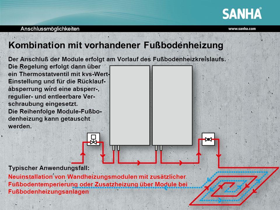Anschlussmöglichkeiten Kombination mit vorhandener Fußbodenheizung Der Anschluß der Module erfolgt am Vorlauf des Fußbodenheizkreislaufs. Die Regelung