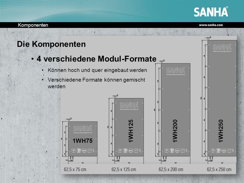 Komponenten 1WH75 1WH1251WH2001WH250 Die Komponenten 4 verschiedene Modul-Formate Können hoch und quer eingebaut werden Verschiedene Formate können ge