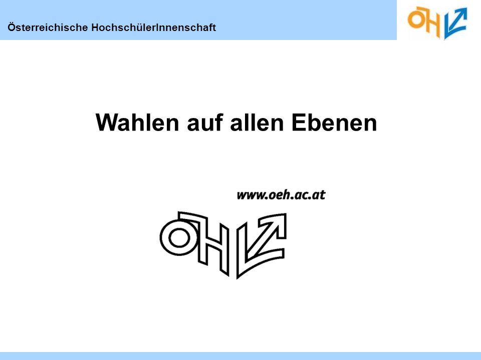 Österreichische HochschülerInnenschaft Wahlen auf allen Ebenen