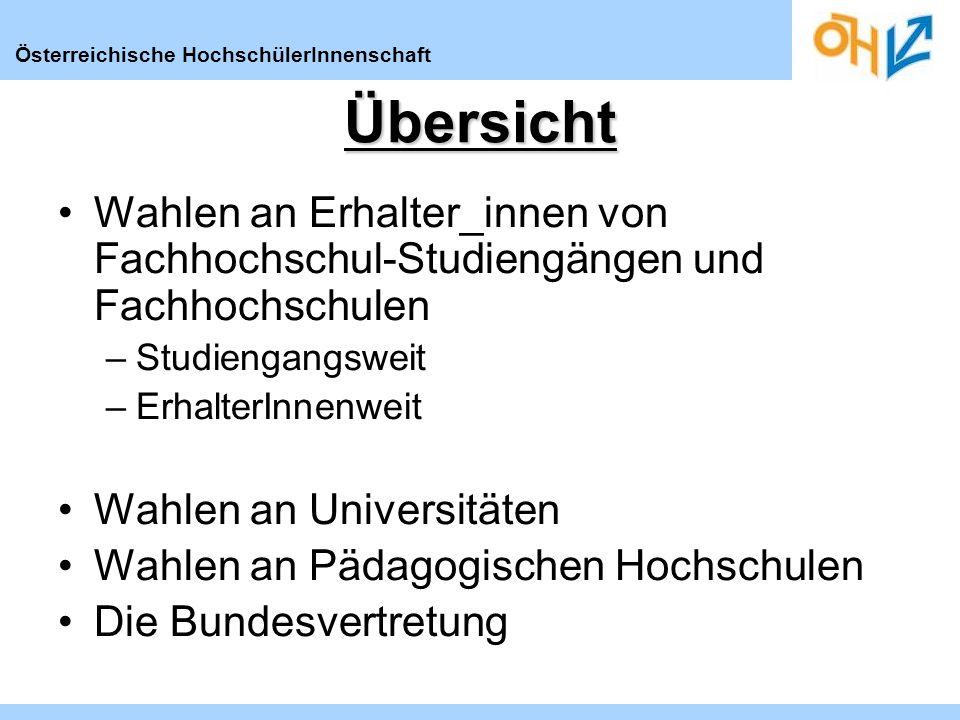 Österreichische HochschülerInnenschaftÜbersicht Wahlen an Erhalter_innen von Fachhochschul-Studiengängen und Fachhochschulen –Studiengangsweit –Erhalt