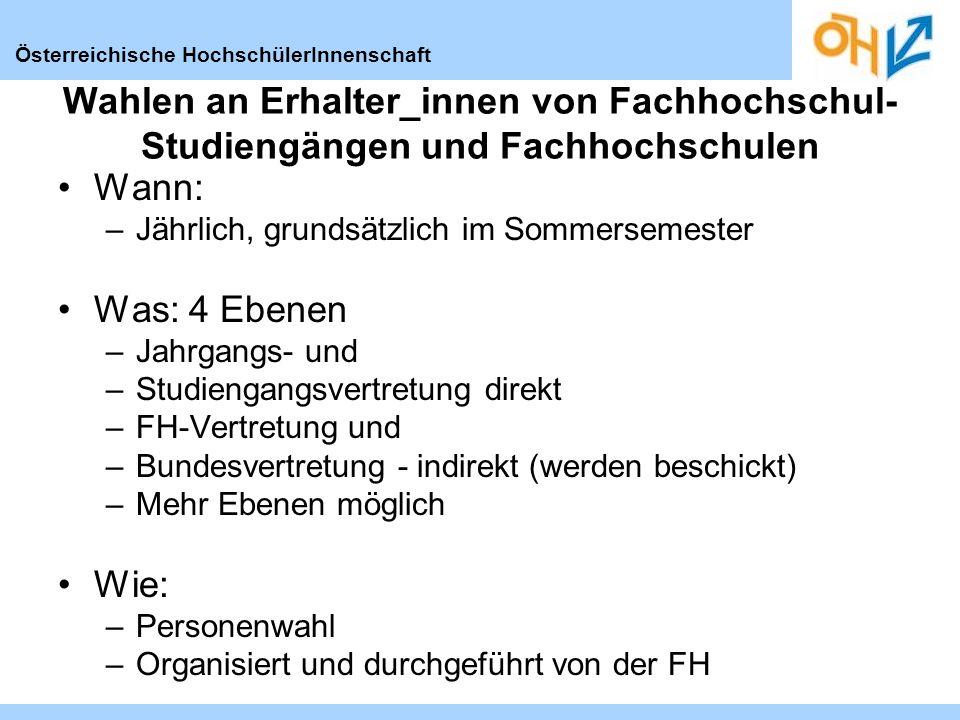 Österreichische HochschülerInnenschaft Vertretung FH-weit Vorsitzende_r Außenvertretung Zeichnungsberechtigung STG-Vorsitzende_r Teil der FH-Vertretung Stimmberechtigt bei Beschlüssen alle STG-Vorsitzende + Vorsitz der FH-Vertretung Erlassen eigene Satzung