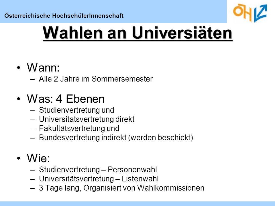 Österreichische HochschülerInnenschaft Wann: –Alle 2 Jahre im Sommersemester Was: 4 Ebenen –Studienvertretung und –Universitätsvertretung direkt –Faku