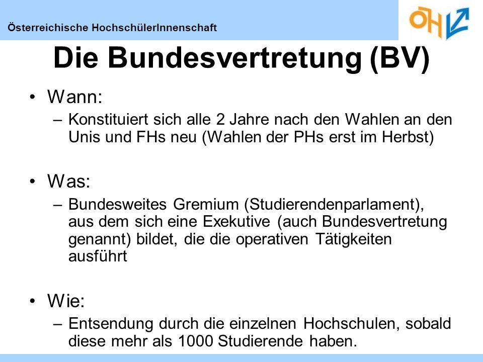 Österreichische HochschülerInnenschaft Vorsitz Die Vertretungsstrukturen Bundesvertretung Derzeit 96 MandatarInnen FH-VOKO UV-VOKO PH-VOKO ÖHs an den FHs ÖHs an den PHs Öhs an den Unis Körperschaft öff.